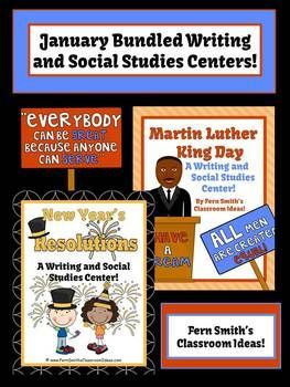 Discounted Bundle of January Writing and Social Studies Center - Martin L King & New Years Resolutions #TPT $Paid