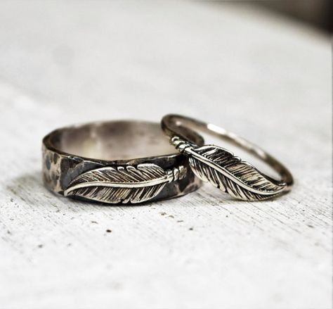 Sterling Silver Feather Ring Set, His & Hers Wedding Bands, Unisex Rings, Bohemian Jewelry, Woodland, Unique Couples Rings, Hammered Bands