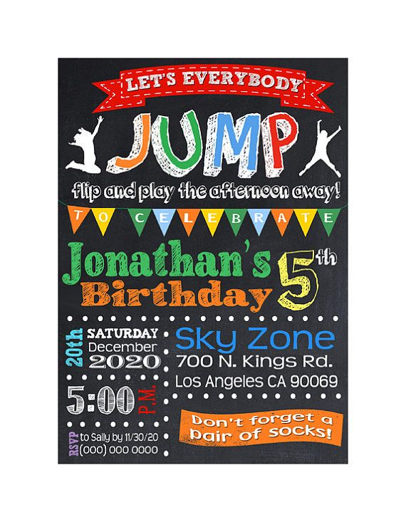 Best 25 Trampoline birthday party ideas – Pump It Up Party Invitations