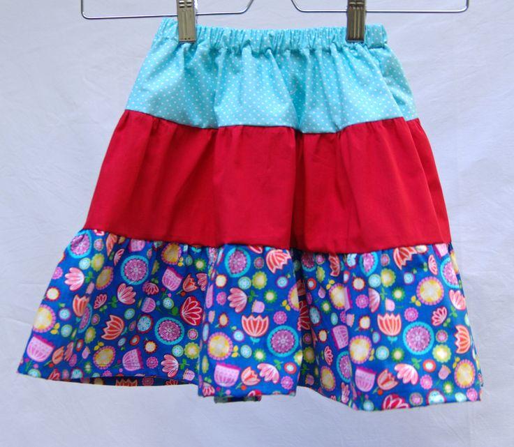 Tiered skirt, cotton skirt, Easter gift, adjustable waist, girls fashion, summer skirt, girls clothing, twirl skirt, adjustable skirt by CrafterMama on Etsy