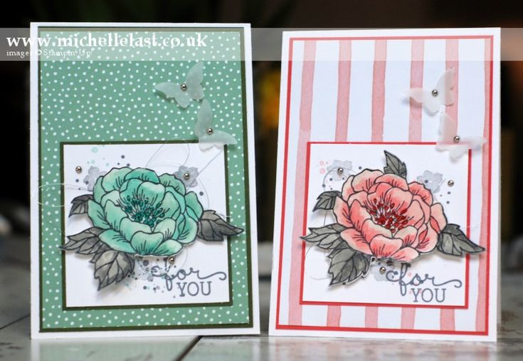 Two pretty cards made using the Birthday Blooms Stamp Set from Stampin Up by Top UK Demo Michelle Last. Order online 24/7 and receive a free thank you gift.