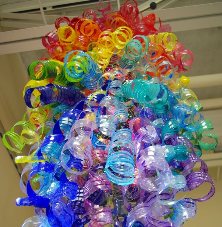 Chihuly-inspired sculpture by Tonawanda Middle School students. Plastic bottles painted with acrylic.