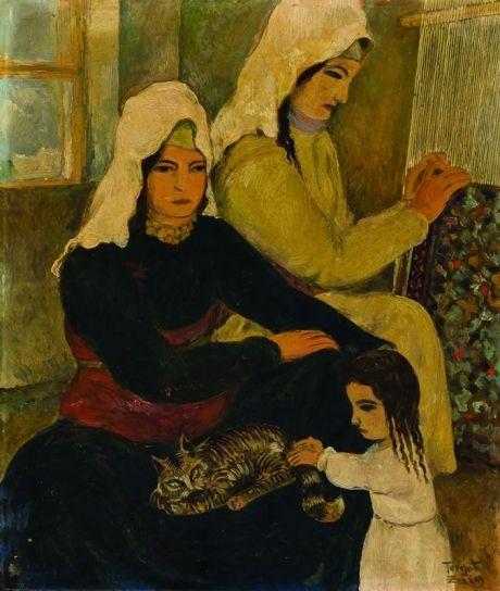 Women weaving carpets by Turgut Zaim Turkish contemporary painter 1906-1974 http://www.tarihnotlari.com/turgut-zaim/