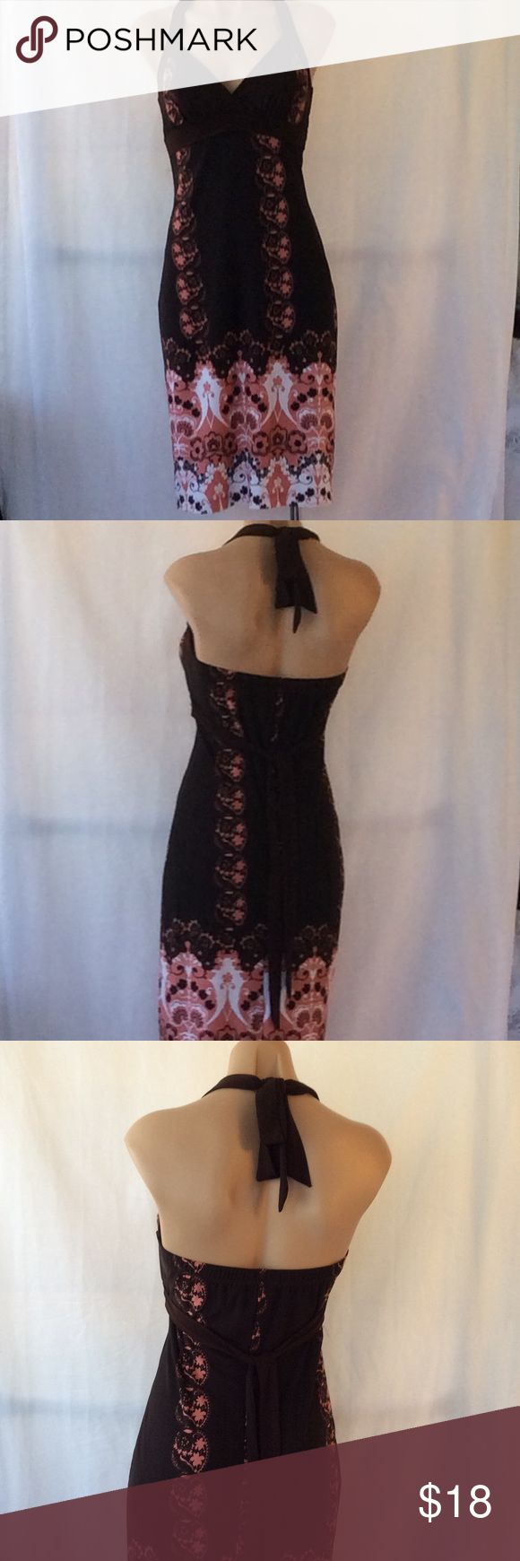 Backless brown/pink summer halter top dress So cute! Backless halter top dress with slight padding on top, with belt strings that can be tied around your neck and waist. Comfortable and fun for a day at the beach or night out. Please see photos for approximate flat lay measurements. Thank you for checking! Speechless Dresses