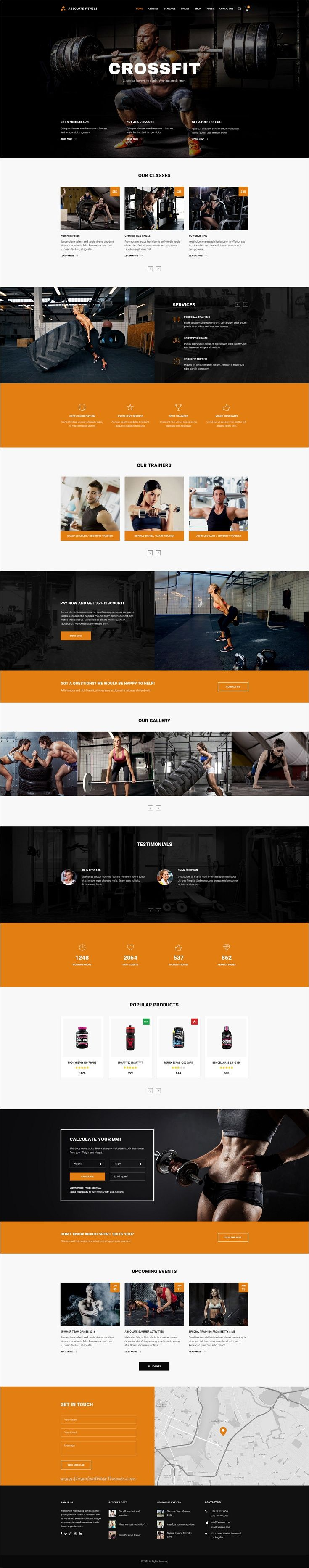 Absolute Fitness is a modern and functional #Photoshop #Theme for #GYM sports #clubs in different directions: Fitness, Bodybuilding, Boxing, Dancing, Yoga, Personal Trainer website with 13 unique homepage layouts and 46 organized PSD pages download now➩ https://themeforest.net/item/absolute-fitness-psd-template/18599187?ref=Datasata