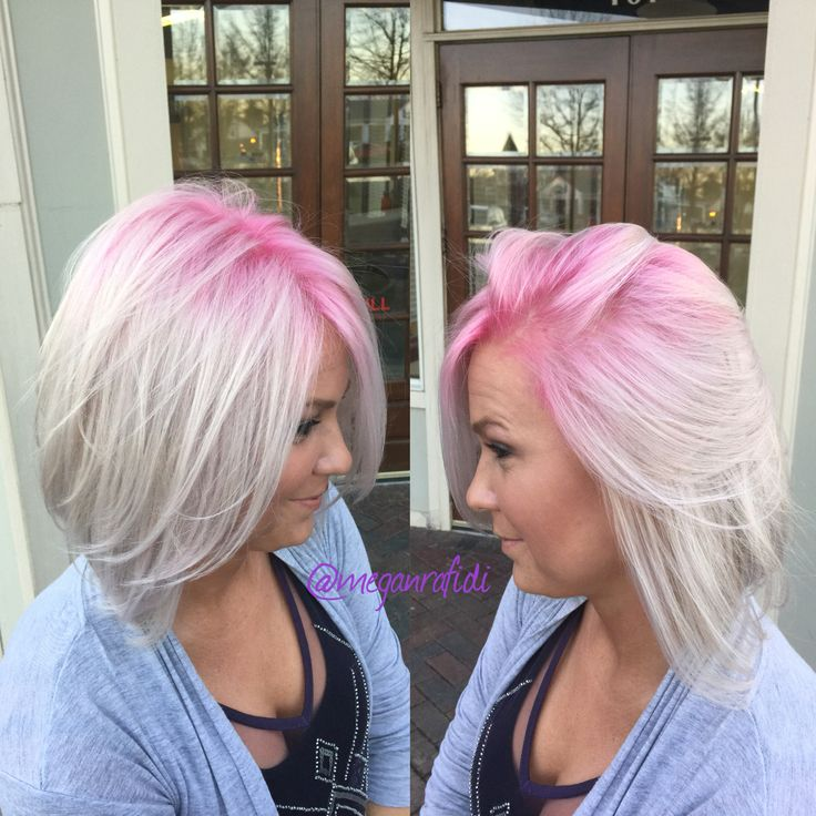 Major color transformation! White ice blonde with a hot pink shadow root!