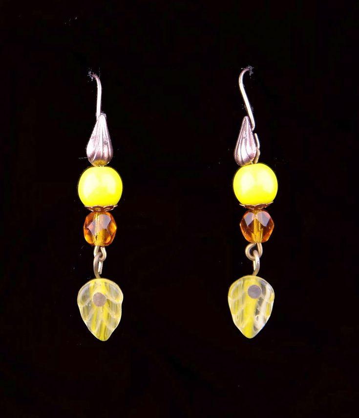 Vintage Czech Glass Earrings Drop Hook Pierced Ears Bronze Tone YELLOW BROWN #Unbranded #DropDangle