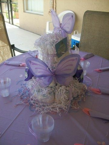 Butterfly theme baby shower lavender purple butterfly for Baby diaper decoration ideas