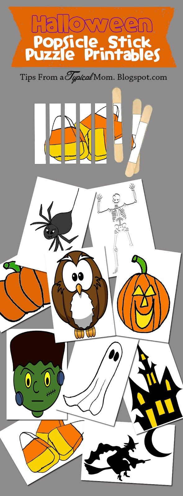 Tips from a Typical Mom: Popsicle Stick October Puzzles~ Free Printables!