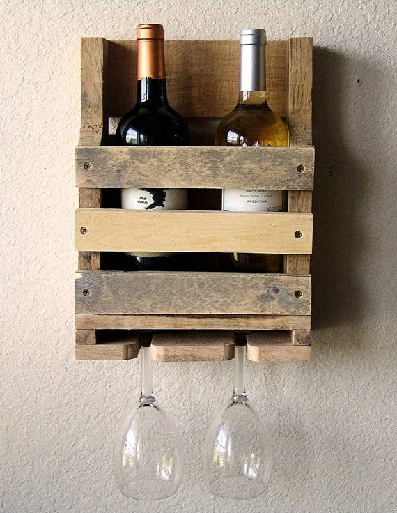 Adorable two bottle/two glass wine rack... Perfect idea as a wedding present!