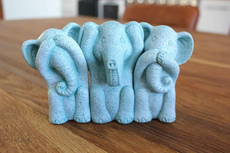 Three Wise Elephants - Marble Mint - The Chic Nest