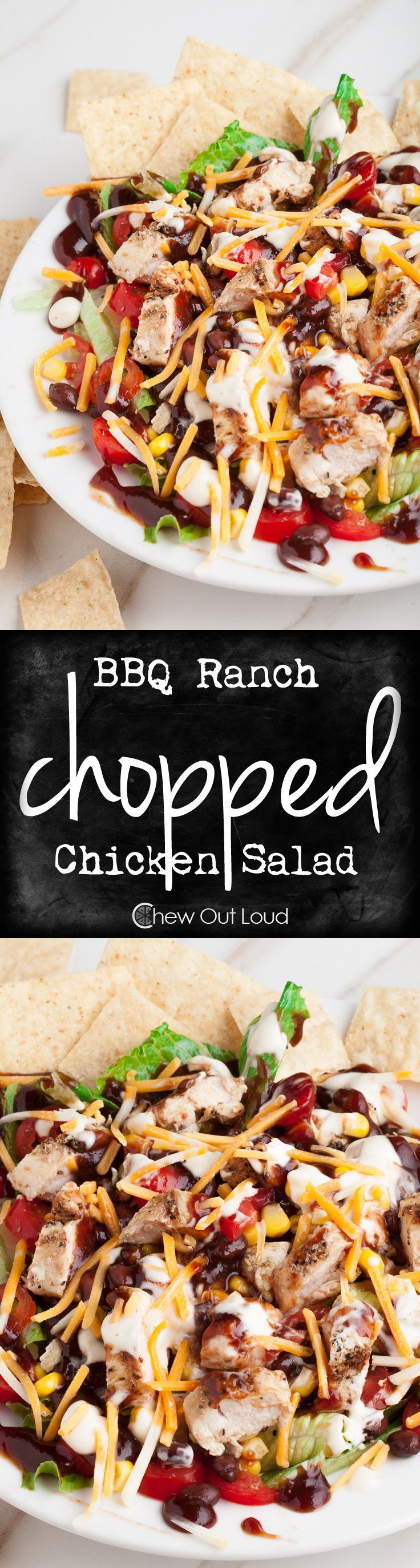 BBQ Ranch Chopped Chicken Salad - Easy, delicious, & nutritious!  Awesome simple yet yummy recipe for busy weekdays.