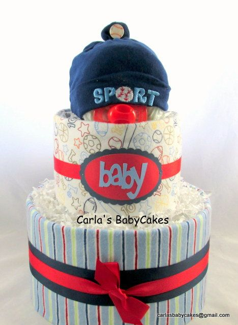Boy diaper cake | Sports diaper cake | Baby shower gift | Baby Shower Decoration…