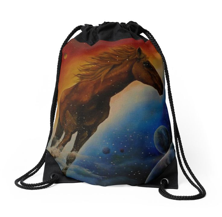 Drawstring Bag,  colorful,beautiful,fancy,unique,trendy,artistic,awesome,fahionable,unusual,accessories,for sale,design,items,products,gifts,presents,ideas,horse,equine,wild,animal,redbubble