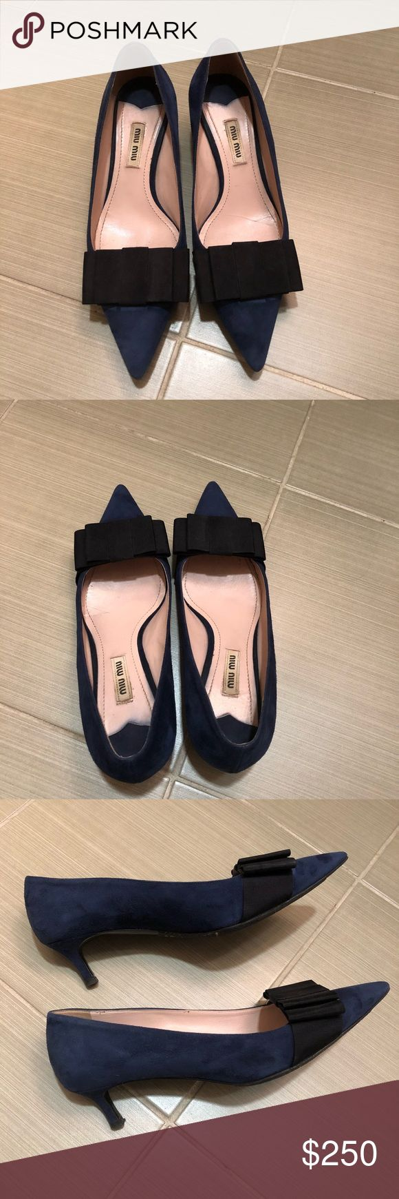 """Miu Miu suede low-heel bow pump Suede. Pointed toe. Grosgrain bow across vamp. Leather lining and sole. 2"""" covered kitten heel. Made in Italy.    Gently worn. Got shoe sole protector at shoe store and it is removable. There is one scratch on the back of the heel as shown on picture. Runs true to size. Miu Miu Shoes Heels"""