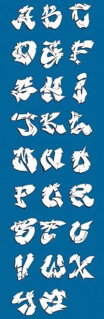 Blue White Classic Graffiti Alphabet Letters A-Z