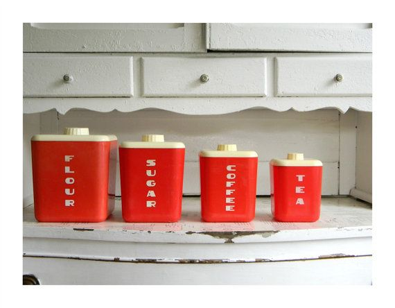 ON HOLD mid century RED kitchen canister set via Etsy
