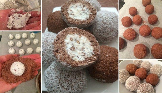 Dvoubarevné FITNESS kuličky z tvarohu a kokosu bez cukru, mouky a vajíčka | NejRecept.cz
