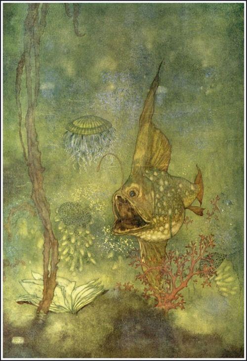 Edmund Dulac: Big Fish, Little Mermaids, Bathroom Art, Children Illustrations, Mermaids Illustrations, Art Fish, Canvas Edmund, Edmund Dulacarthur, Andersen Illustrations