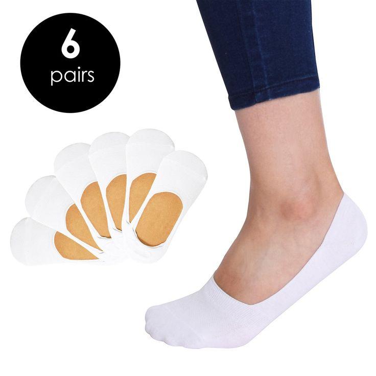 VIV Collection Women's 6 Pack Casual No Show Socks Non Slip Sports Cut