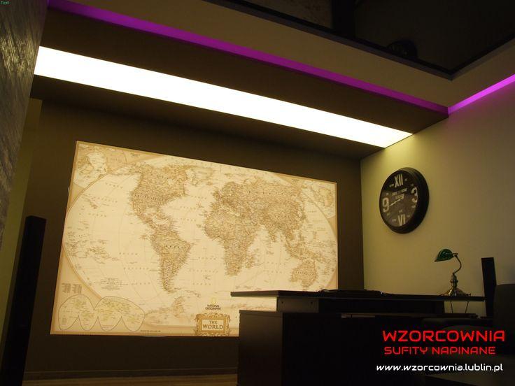 Sufit napinany z nadrukiem - mapa National Geographic podświetlona oświetleniem LED:) Realizacja w Lublinie:)