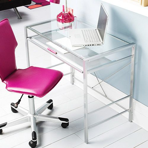 Love the idea of clear desks and bold colored desk chairs...Mainstays Glass-Top Desk, Clear $49
