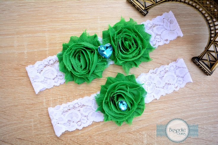 Wedding Lace Garter Set, Handmade with White Lace & Crystal Aqua Rhinestone - by BespokeGarters by BespokeGarters on Etsy