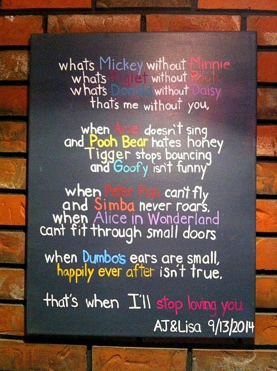 Disney Quote Canvas - Disney Wedding Gift - Love Canvas Art- Disney Canvas Art - Wedding Gift - Wedding Canvas Art - from ColorsandMoreColors on Etsy.