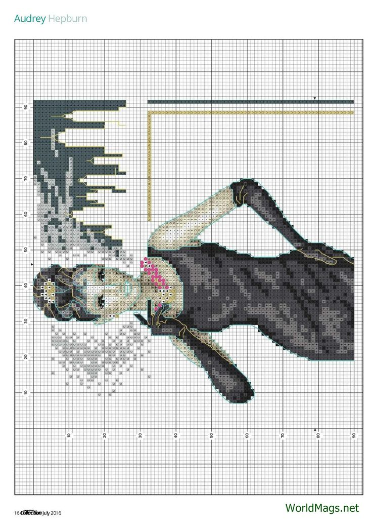 Audrey Hepburn From Cross Stitch Collection N°264 July 2016  3 of 5