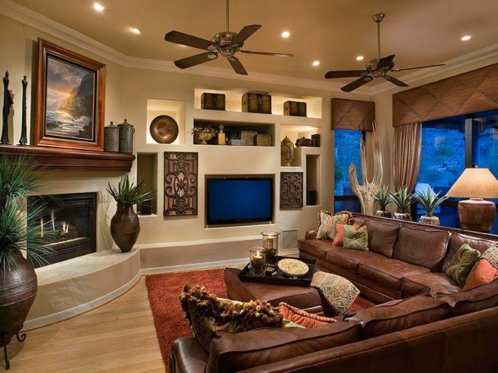Wanddeko Wohnzimmer - dekorative Wandnischen - Archzinenet - moderne wandgestaltung wohnzimmer lila