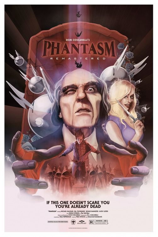 """Phantasm (1979) tagline: """"If this one doesn't scare you you're already dead"""" directed by: Don Coscarelli starring: Angus Scrimm, A. Michael Baldwin, Bill Thornbury, Reggie Bannister"""