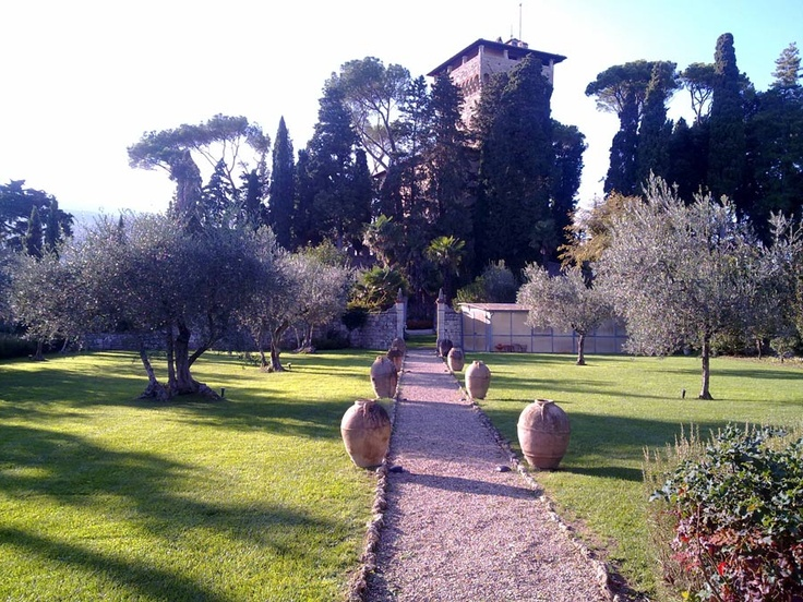 Wedding in Italy, Tuscany Castle - The castle's tower from the olive trees garden