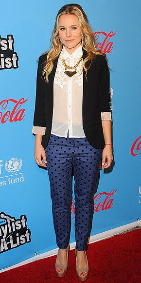 kristen bell: Christian Belle, Dots Pants, Prints Pants, Celebrity Wear, Polka Dots Jeans, Pants Work, Wear Prints, Prints Trousers, Black Blazers
