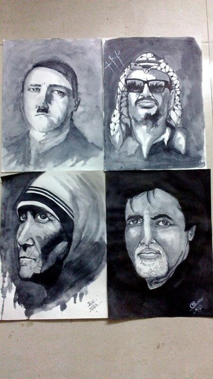 Potraits in Indian ink