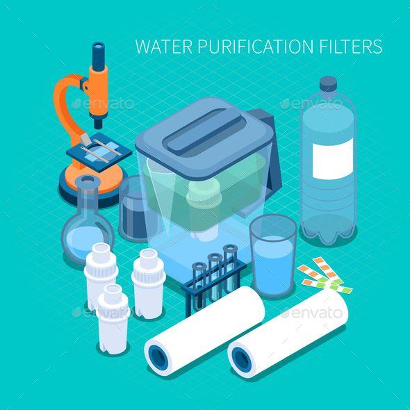 Water Purification Filters Isometric Composition Water Purification Water Purification System Water Purification Process