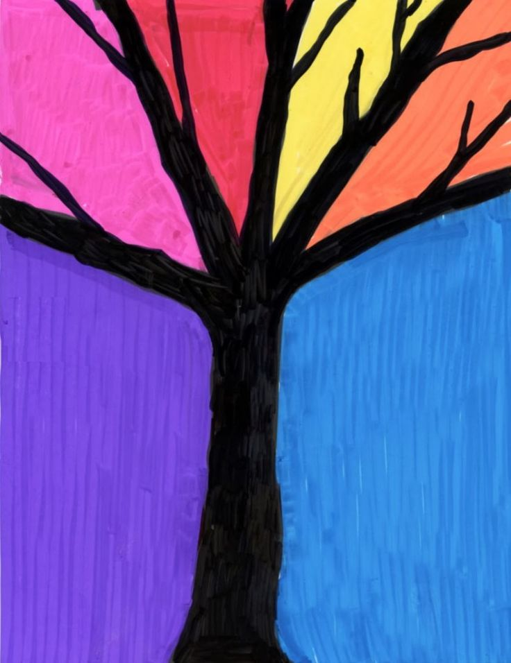 Fall Tree Silhouette with markers. Art Projects for Kids
