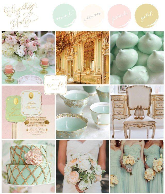 Wedding Inspiration Mood Board #16 {Mint, Ivory, Peach, Gold, Pastel} by Elizabeth Andres Designs in Dubai.