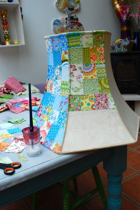 Patchwork lampshade.                              Gloucestershire Resource Centre http://www.grcltd.org/scrapstore/