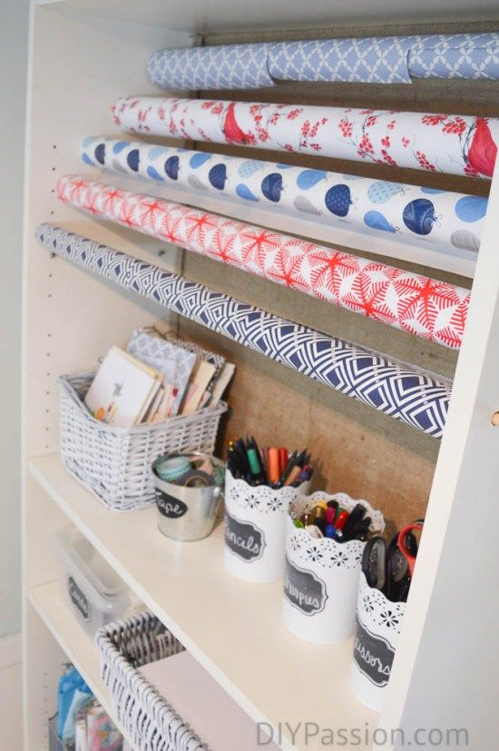 How to Store Wrapping Paper! Make this DIY Gift Paper Organizing Station in your home for next to nothing.