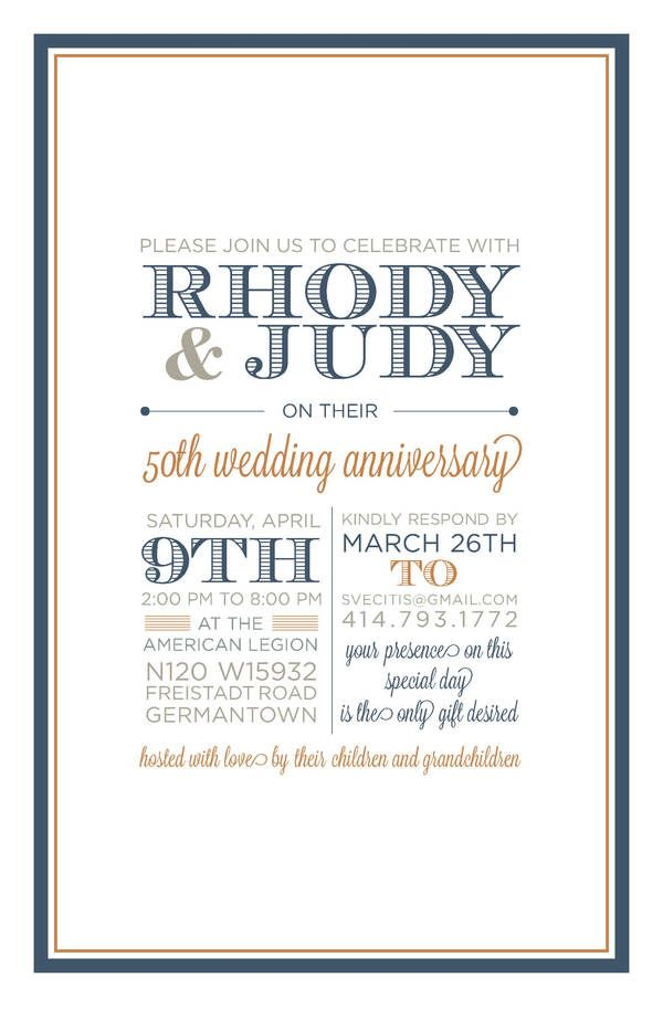 50th Wedding Anniversary Invitation and Save the Date by Katie Vecitis, via Behance
