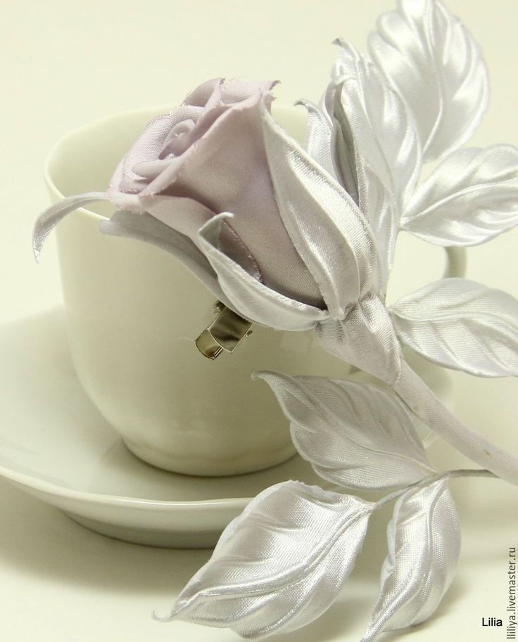 """Купить Цветы из шелка. Брошь роза """"Sweetness"""" - серебряный, брошь ручной работы"""