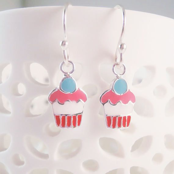 Sterling Silver Cup Cake Earrings Grenadine Cup Cake