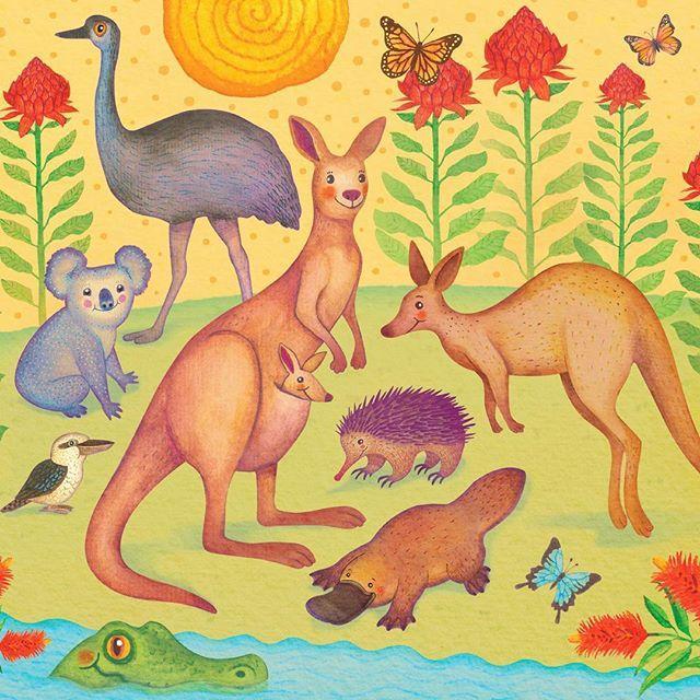 WEBSTA @ vladimirsart - Aussie flora and fauna ☺️ #greetingcards #Australia #AussieMates #Sydney #wombat #kangaroos #illustration #coloredpencils #pattern #watercolor #platypus #echidna #crocodile #waratahs #monarchbutterfly #flanelflower #kookaburra #australiana #colorful #decorative #exotic #emu #koala #kangaroo #cute #cuteanimals