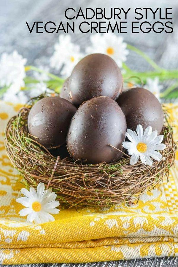 Vegan Cadbury Creme Eggs!  A rich chocolate shell full of sweet, creamy fondant and a perfect yellow yolk! #cremeegg #cremeeggs #cadbury #cadburycopycat #cremeeggcopycat #vegan #easter #veganeaster