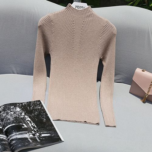 2017 Spring Autumn High Elastic Knitted Women Sweaters And Pullovers Female Turtleneck Womens Jumpers Pink Gray Pull Black Femme