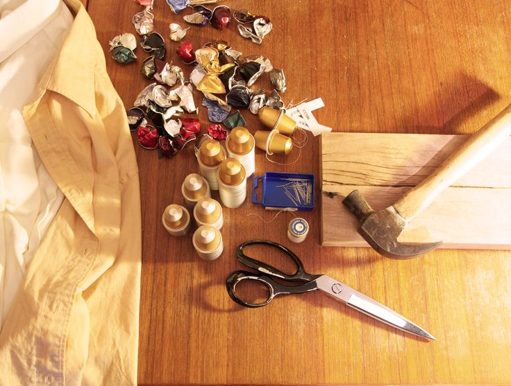 Nespresso capsules, reclaimed men's shirts and tools.  The Upcycle challenge begins!