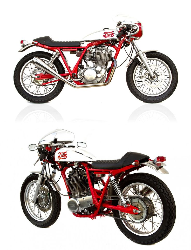 The 'Cherry Cafe Racer' from Deus Ex Machina in Sydney, Australia. This Yamaha SR500 is sporting custom bodywork, a detabbed frame and a roundslide carb to boost performance. One of the featured bikes in the new book, 'The Ride.'