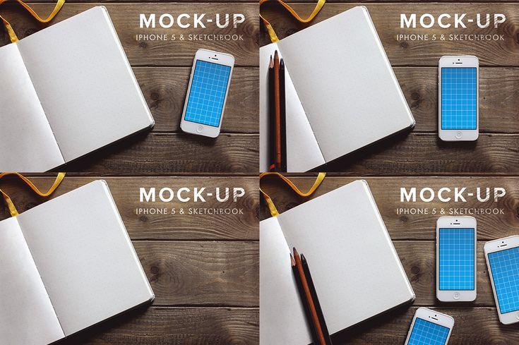 iPhone 5 + Sketchbook - Mockup #1 by Román Jusdado on Creative Market