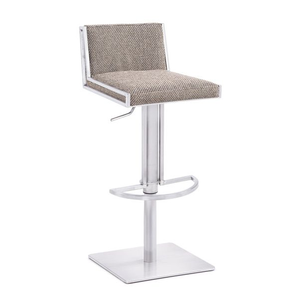 Elio Contemporary Low Back Stainless Steel Adjustable Bar Stool | Overstock.com Shopping - The Best Deals on Bar Stools