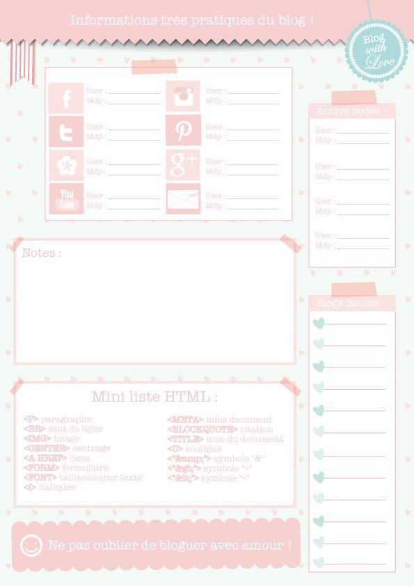 Petites fiches pratiques de la blogueuse organisée ! (à imprimer)